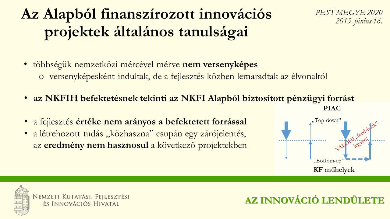 Az Alapból finanszírozott innovációs projektek általános tanulságai többségük nemzetközi mércével mérve nem versenyképes o versenyképesként indultak,