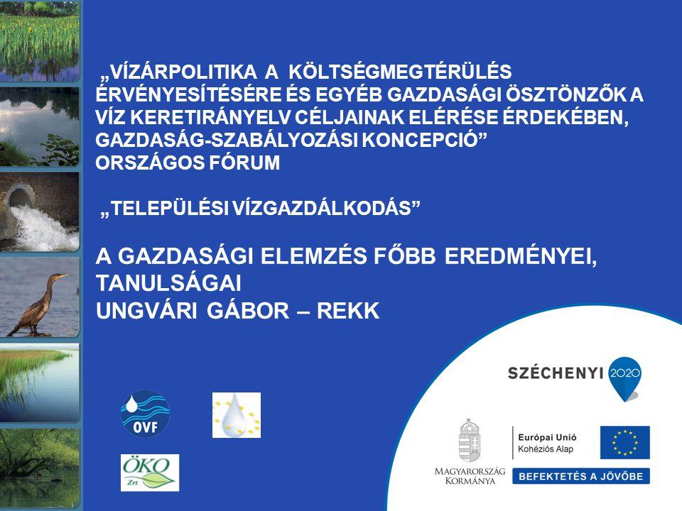 AZ ELŐADÁS TÉMÁI A VGT kötelezettségei A települési vízgazdálkodás megjelenése a VKI rendszerében A gazdasági elemzés eredményei 2