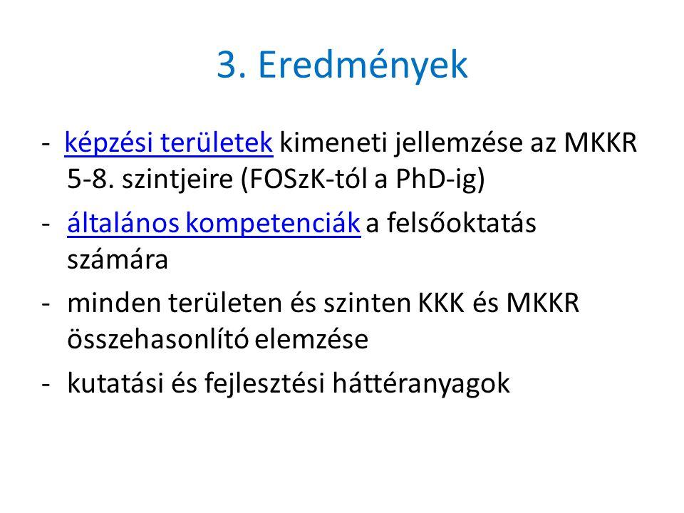 3. Eredmények - képzési területek kimeneti jellemzése az MKKR 5-8.