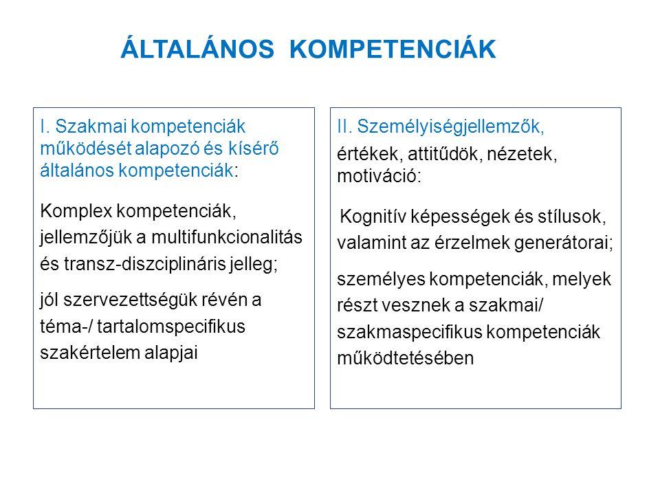 ÁLTALÁNOS KOMPETENCIÁK I.