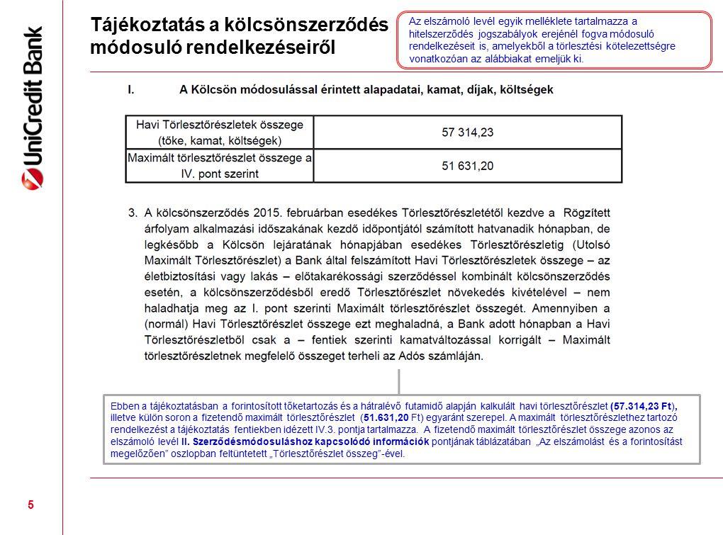Tájékoztatás a kölcsönszerződés módosuló rendelkezéseiről 5 Ebben a tájékoztatásban a forintosított tőketartozás és a hátralévő futamidő alapján kalkulált havi törlesztőrészlet (57.314,23 Ft), illetve külön soron a fizetendő maximált törlesztőrészlet (51.631,20 Ft) egyaránt szerepel.
