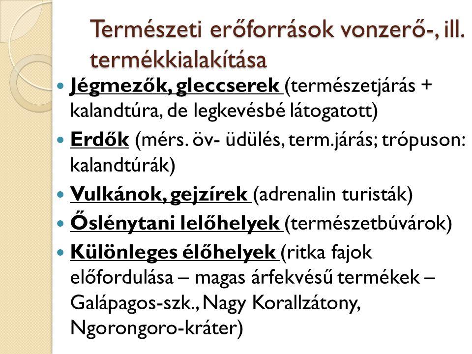 Természeti erőforrások vonzerő-, ill. termékkialakítása Jégmezők, gleccserek (természetjárás + kalandtúra, de legkevésbé látogatott) Erdők (mérs. öv-