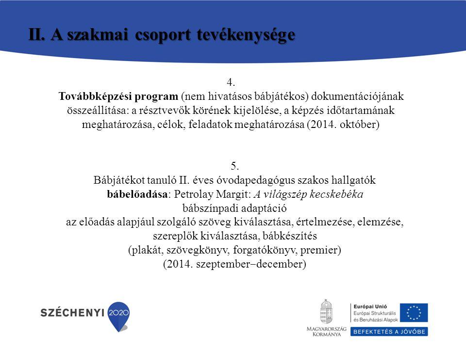II. A szakmai csoport tevékenysége 4. Továbbképzési program (nem hivatásos bábjátékos) dokumentációjának összeállítása: a résztvevők körének kijelölés