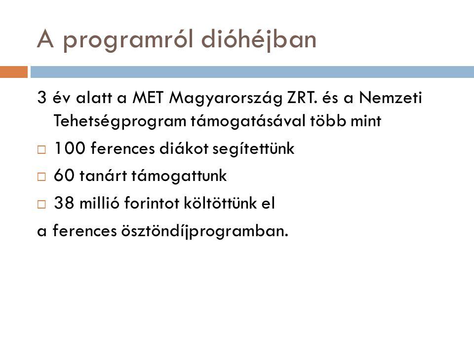 A programról dióhéjban 3 év alatt a MET Magyarország ZRT. és a Nemzeti Tehetségprogram támogatásával több mint  100 ferences diákot segítettünk  60