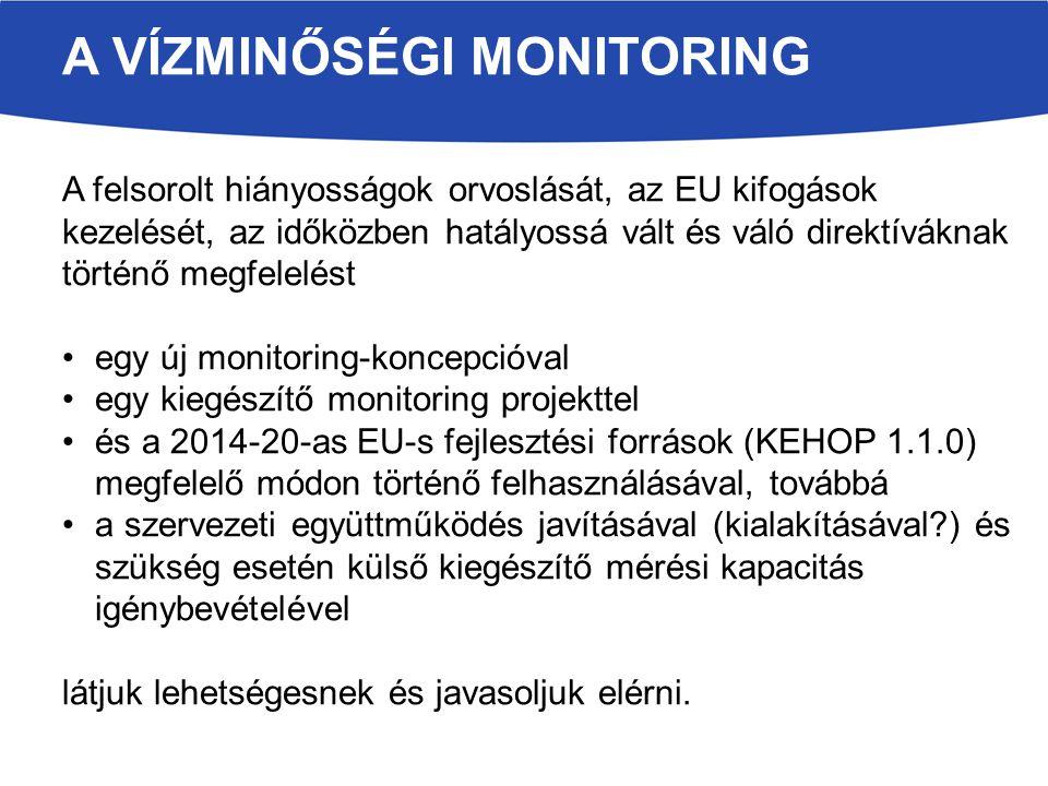 A VÍZMINŐSÉGI MONITORING A felsorolt hiányosságok orvoslását, az EU kifogások kezelését, az időközben hatályossá vált és váló direktíváknak történő megfelelést egy új monitoring-koncepcióval egy kiegészítő monitoring projekttel és a 2014-20-as EU-s fejlesztési források (KEHOP 1.1.0) megfelelő módon történő felhasználásával, továbbá a szervezeti együttműködés javításával (kialakításával?) és szükség esetén külső kiegészítő mérési kapacitás igénybevételével látjuk lehetségesnek és javasoljuk elérni.