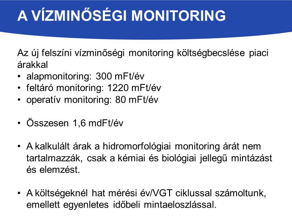 A VÍZMINŐSÉGI MONITORING Az új felszíni vízminőségi monitoring költségbecslése piaci árakkal alapmonitoring: 300 mFt/év feltáró monitoring: 1220 mFt/év operatív monitoring: 80 mFt/év Összesen 1,6 mdFt/év A kalkulált árak a hidromorfológiai monitoring árát nem tartalmazzák, csak a kémiai és biológiai jellegű mintázást és elemzést.