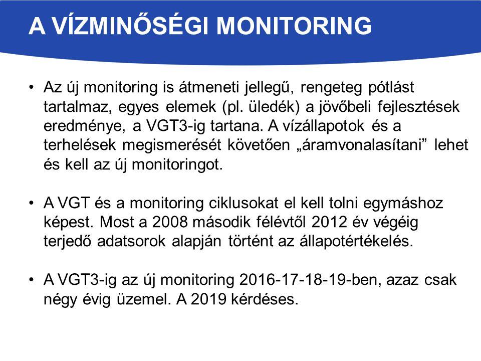 A VÍZMINŐSÉGI MONITORING Az új monitoring is átmeneti jellegű, rengeteg pótlást tartalmaz, egyes elemek (pl. üledék) a jövőbeli fejlesztések eredménye