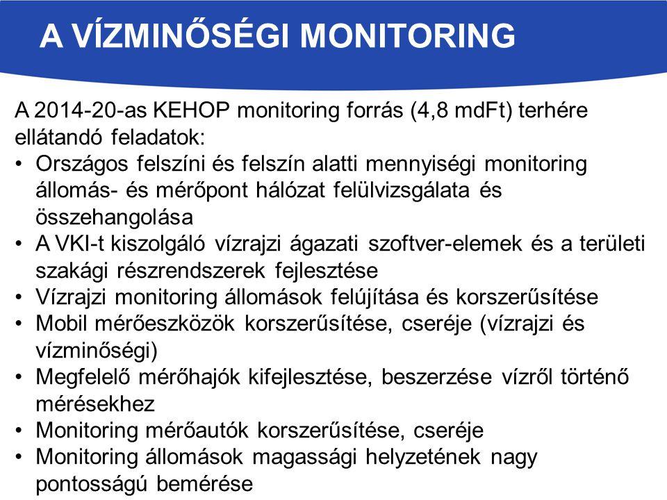A VÍZMINŐSÉGI MONITORING A 2014-20-as KEHOP monitoring forrás (4,8 mdFt) terhére ellátandó feladatok: Országos felszíni és felszín alatti mennyiségi monitoring állomás- és mérőpont hálózat felülvizsgálata és összehangolása A VKI-t kiszolgáló vízrajzi ágazati szoftver-elemek és a területi szakági részrendszerek fejlesztése Vízrajzi monitoring állomások felújítása és korszerűsítése Mobil mérőeszközök korszerűsítése, cseréje (vízrajzi és vízminőségi) Megfelelő mérőhajók kifejlesztése, beszerzése vízről történő mérésekhez Monitoring mérőautók korszerűsítése, cseréje Monitoring állomások magassági helyzetének nagy pontosságú bemérése