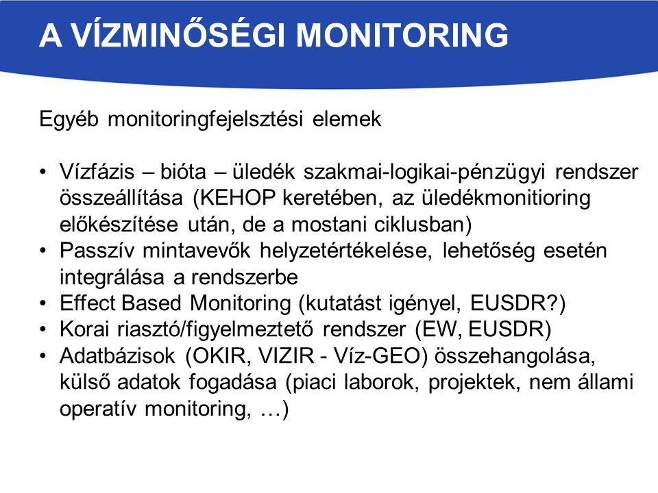 A VÍZMINŐSÉGI MONITORING Egyéb monitoringfejelsztési elemek Vízfázis – bióta – üledék szakmai-logikai-pénzügyi rendszer összeállítása (KEHOP keretében, az üledékmonitioring előkészítése után, de a mostani ciklusban) Passzív mintavevők helyzetértékelése, lehetőség esetén integrálása a rendszerbe Effect Based Monitoring (kutatást igényel, EUSDR?) Korai riasztó/figyelmeztető rendszer (EW, EUSDR) Adatbázisok (OKIR, VIZIR - Víz-GEO) összehangolása, külső adatok fogadása (piaci laborok, projektek, nem állami operatív monitoring, …)
