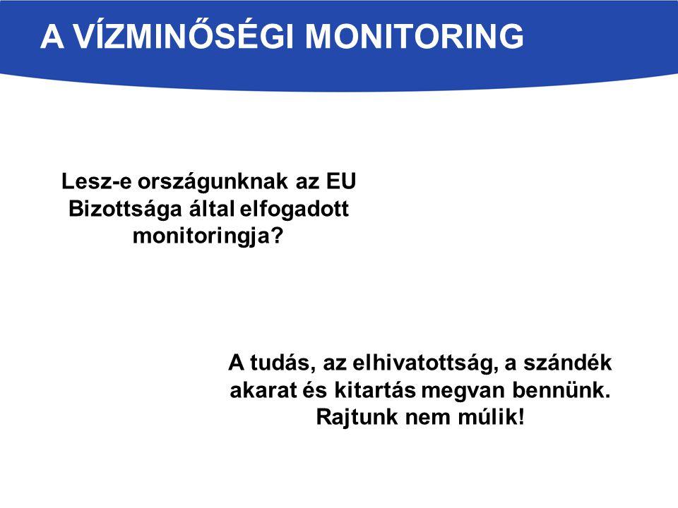 A VÍZMINŐSÉGI MONITORING Lesz-e országunknak az EU Bizottsága által elfogadott monitoringja? A tudás, az elhivatottság, a szándék akarat és kitartás m