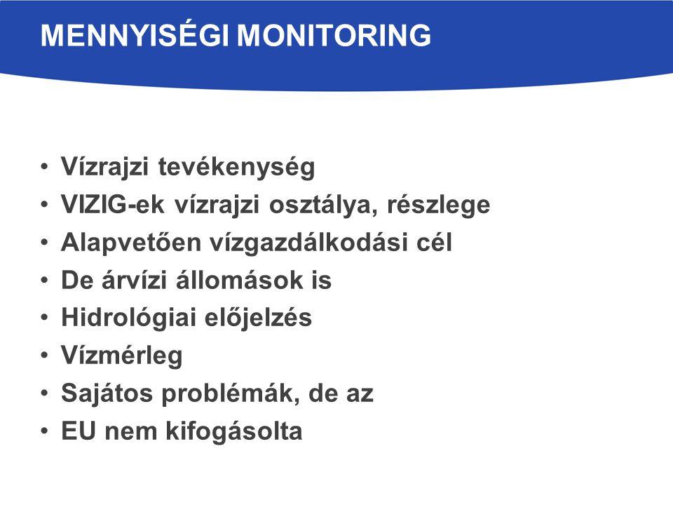 Vízrajzi tevékenység VIZIG-ek vízrajzi osztálya, részlege Alapvetően vízgazdálkodási cél De árvízi állomások is Hidrológiai előjelzés Vízmérleg Sajáto