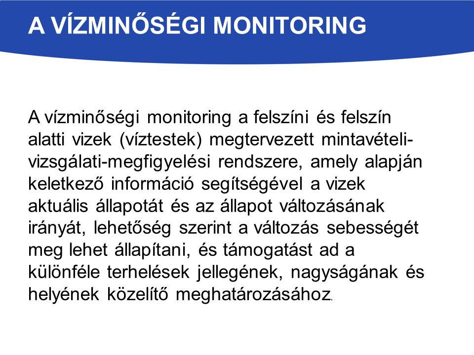 A vízminőségi monitoring a felszíni és felszín alatti vizek (víztestek) megtervezett mintavételi- vizsgálati-megfigyelési rendszere, amely alapján kel