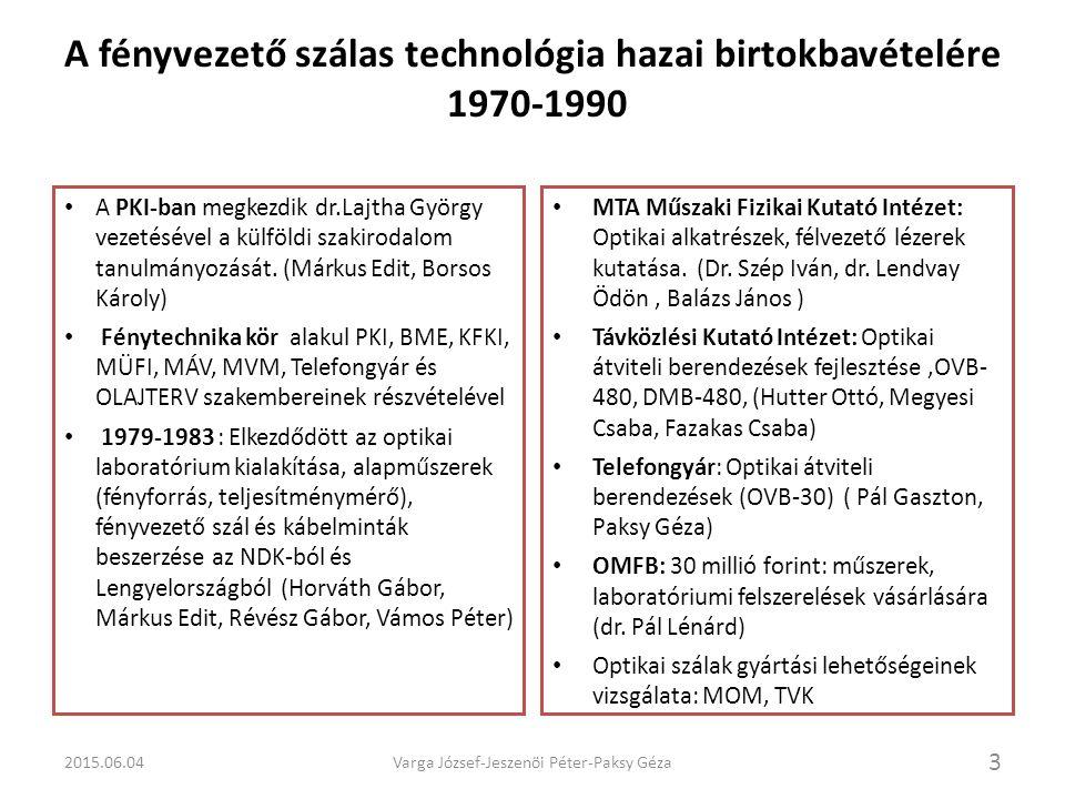 Kísérleti optikai összeköttetések létesítése a PKI irányításával 4 1983-1986 József- és Belváros távbeszélő központok között 2.2 km optikai kábelszakaszon, 850 nm hullámhosszú 34Mbit/s sebességű optikai összeköttetés (SAT) József- és Ferenc központok között 5,7 km optikai kábel szakaszon, 850 nm hullámhosszú, 34 Mbit/s sebességű optikai összeköttetés, (Ericsson) Értékes tapasztalatok az optikai rendszerek telepítésében, üzembehelyezésében és méréseiben (Borsos János, Márkus Edit, Micsinai Tibor, Révész Gábor, Varga József, Vámos Péter).