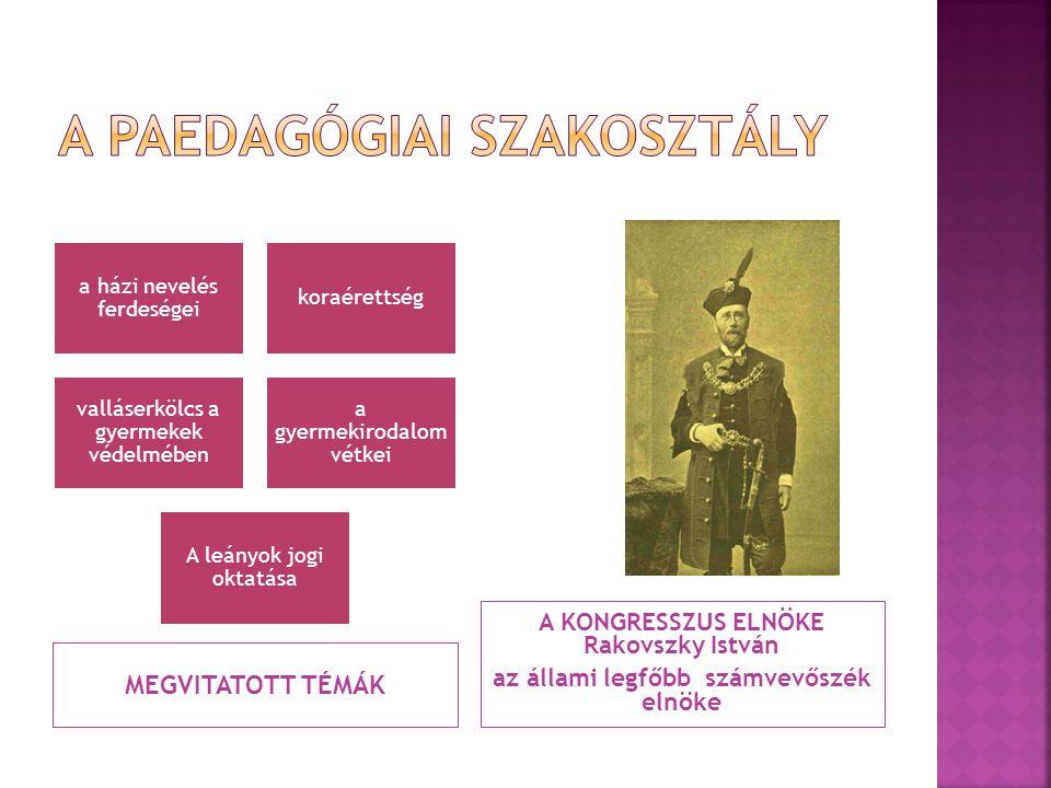 """Gyermekvédelmi kongresszus pedagógiai témái  1899: Geöcze Sarolta: - ha a szülő a társadalmi élet rabja, a """"gyermek idegen kézre marad , így a gyermek jellemének fejlődésével senki nem törődik - """"ma, a kötelező népoktatás korában, az iskola feladata sokkal inkább a nevelés, mint a tanítás - """"az iskola ne kerülje, hanem keresse a szülőkkel az érintkezést Az MPT felolvasóüléseinek témái (Magyar Paedagógia)  1910- Geöcze Sarolta: Az erkölcsi nevelés mint magyar nemzeti probléma  a nevelés környezetének minősége  a kulcs az érzelmekben van Waldapfel János- Hozzászólás: """"A nevelés nagyobb része a családot illeti; a nagy erkölcsi célokra való törekvésekkel az iskola tölti meg a gyermeket. - 1911."""