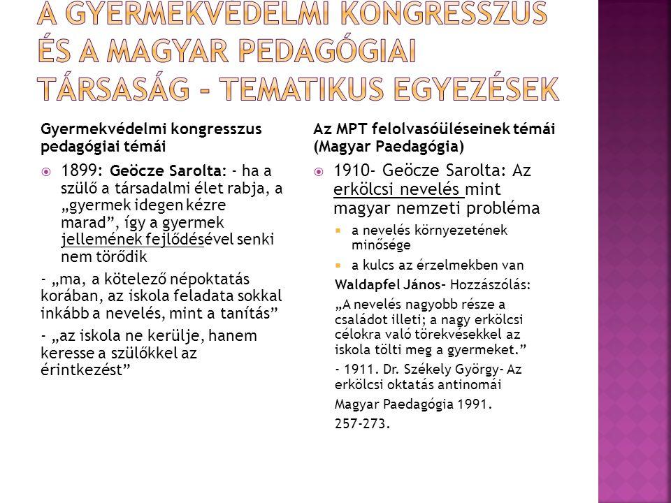 """Gyermekvédelmi kongresszus pedagógiai témái  1899: Geöcze Sarolta: - ha a szülő a társadalmi élet rabja, a """"gyermek idegen kézre marad"""", így a gyerme"""