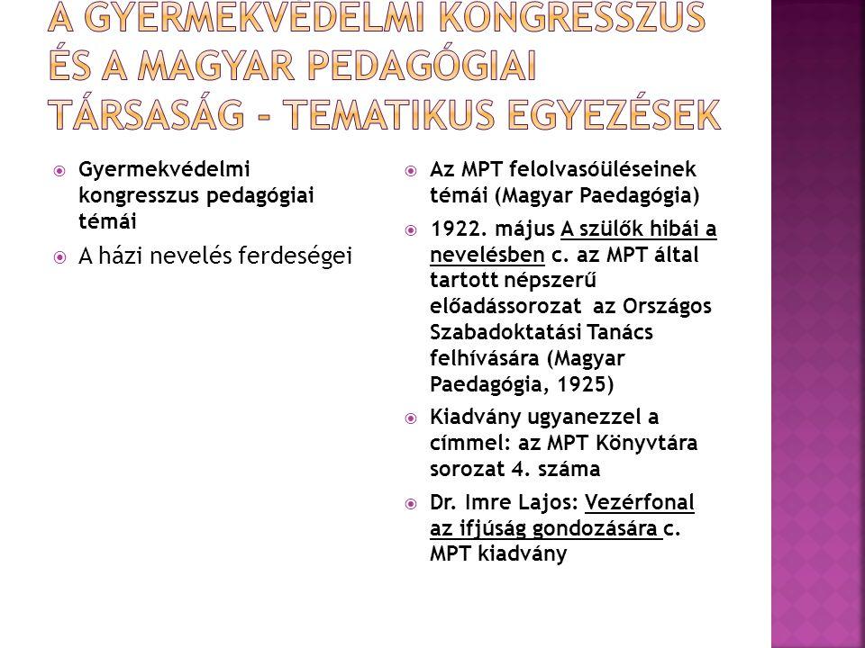  Gyermekvédelmi kongresszus pedagógiai témái  A házi nevelés ferdeségei  Az MPT felolvasóüléseinek témái (Magyar Paedagógia)  1922. május A szülők