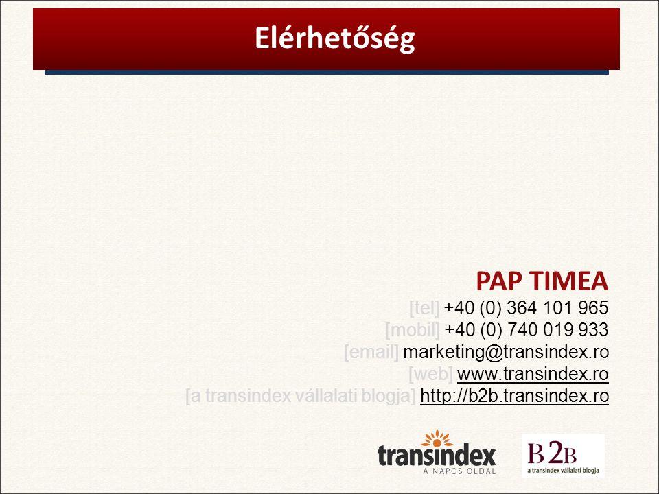 PAP TIMEA Elérhetőség [tel] +40 (0) 364 101 965 [mobil] +40 (0) 740 019 933 [email] marketing@transindex.ro [web] www.transindex.ro [a transindex vállalati blogja] http://b2b.transindex.ro