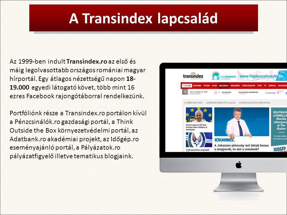 A Transindex lapcsalád Az 1999-ben indult Transindex.ro az első és máig legolvasottabb országos romániai magyar hírportál.