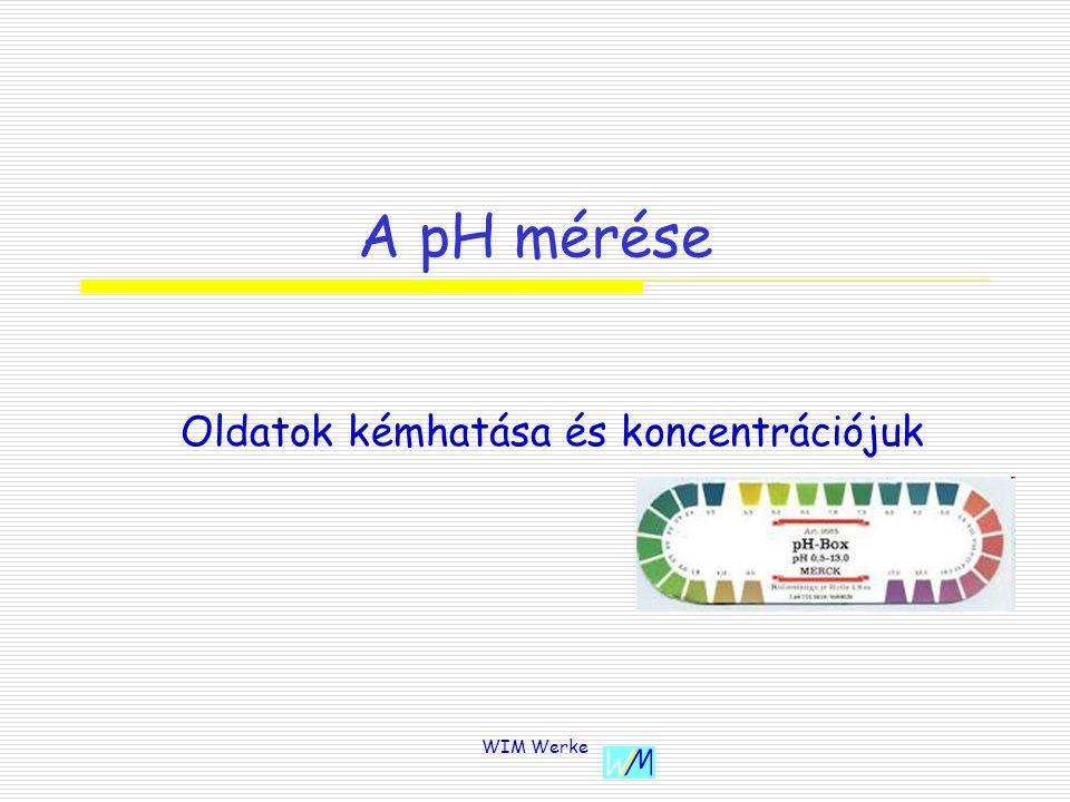 WIM Werke A pH mérése Oldatok kémhatása és koncentrációjuk