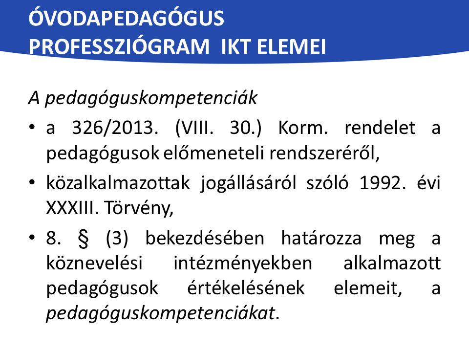 ÓVODAPEDAGÓGUS PROFESSZIÓGRAM IKT ELEMEI A pedagóguskompetenciák a 326/2013. (VIII. 30.) Korm. rendelet a pedagógusok előmeneteli rendszeréről, közalk