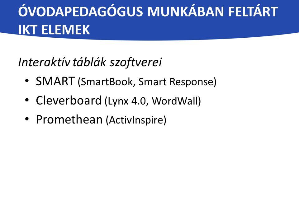 ÓVODAPEDAGÓGUS MUNKÁBAN FELTÁRT IKT ELEMEK Interaktív táblák szoftverei SMART (SmartBook, Smart Response) Cleverboard (Lynx 4.0, WordWall) Promethean