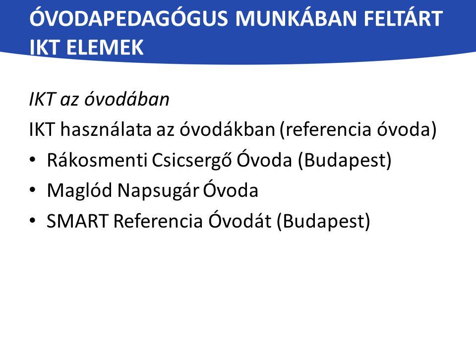 ÓVODAPEDAGÓGUS MUNKÁBAN FELTÁRT IKT ELEMEK IKT az óvodában IKT használata az óvodákban (referencia óvoda) Rákosmenti Csicsergő Óvoda (Budapest) Maglód