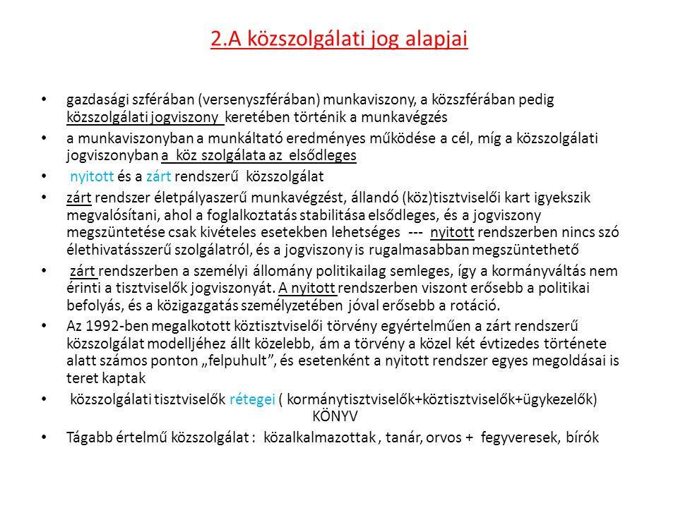 3.A közszolgálati jogviszony létesítése és módosítása Az általános alkalmazási feltételek a következők: – magyar állampolgárság; – büntetlen előélet; – legalább középiskolai végzettség (ez az érettségi vizsgát jelenti); – cselekvőképesség.
