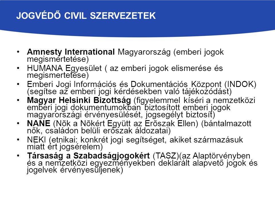 JOGVÉDŐ CIVIL SZERVEZETEK Amnesty International Magyarország (emberi jogok megismertetése) HUMANA Egyesület ( az emberi jogok elismerése és megismertetése) Emberi Jogi Információs és Dokumentációs Központ (INDOK) (segítse az emberi jogi kérdésekben való tájékozódást) Magyar Helsinki Bizottság (figyelemmel kíséri a nemzetközi emberi jogi dokumentumokban biztosított emberi jogok magyarországi érvényesülését, jogsegélyt biztosít) NANE (Nõk a Nõkért Együtt az Erõszak Ellen) (bántalmazott nők, családon belüli erőszak áldozatai) NEKI (etnikai: konkrét jogi segítséget, akiket származásuk miatt ért jogsérelem) Társaság a Szabadságjogokért (TASZ)(az Alaptörvényben és a nemzetközi egyezményekben deklarált alapvető jogok és jogelvek érvényesüljenek)