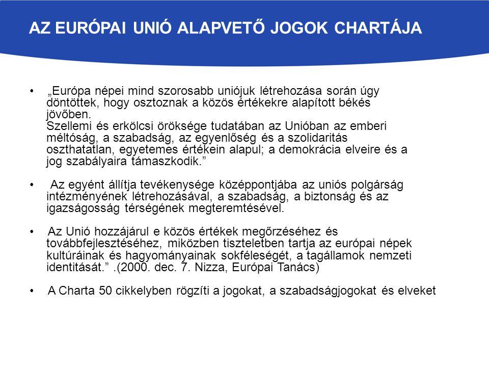 """AZ EURÓPAI UNIÓ ALAPVETŐ JOGOK CHARTÁJA """"Európa népei mind szorosabb uniójuk létrehozása során úgy döntöttek, hogy osztoznak a közös értékekre alapíto"""