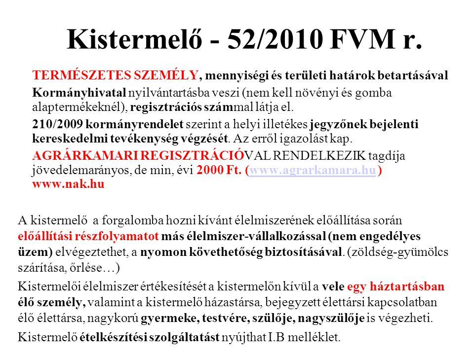 Kistermelő - 52/2010 FVM r. TERMÉSZETES SZEMÉLY, mennyiségi és területi határok betartásával Kormányhivatal nyilvántartásba veszi (nem kell növényi és