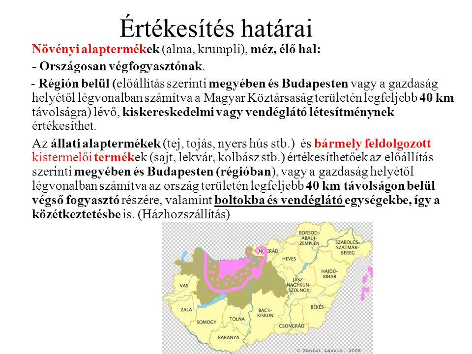 Értékesítés határai Növényi alaptermékek (alma, krumpli), méz, élő hal: - Országosan végfogyasztónak. - Régión belül (előállítás szerinti megyében és