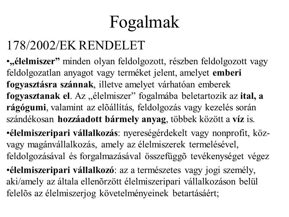 """Fogalmak 178/2002/EK RENDELET """"élelmiszer"""" minden olyan feldolgozott, részben feldolgozott vagy feldolgozatlan anyagot vagy terméket jelent, amelyet e"""