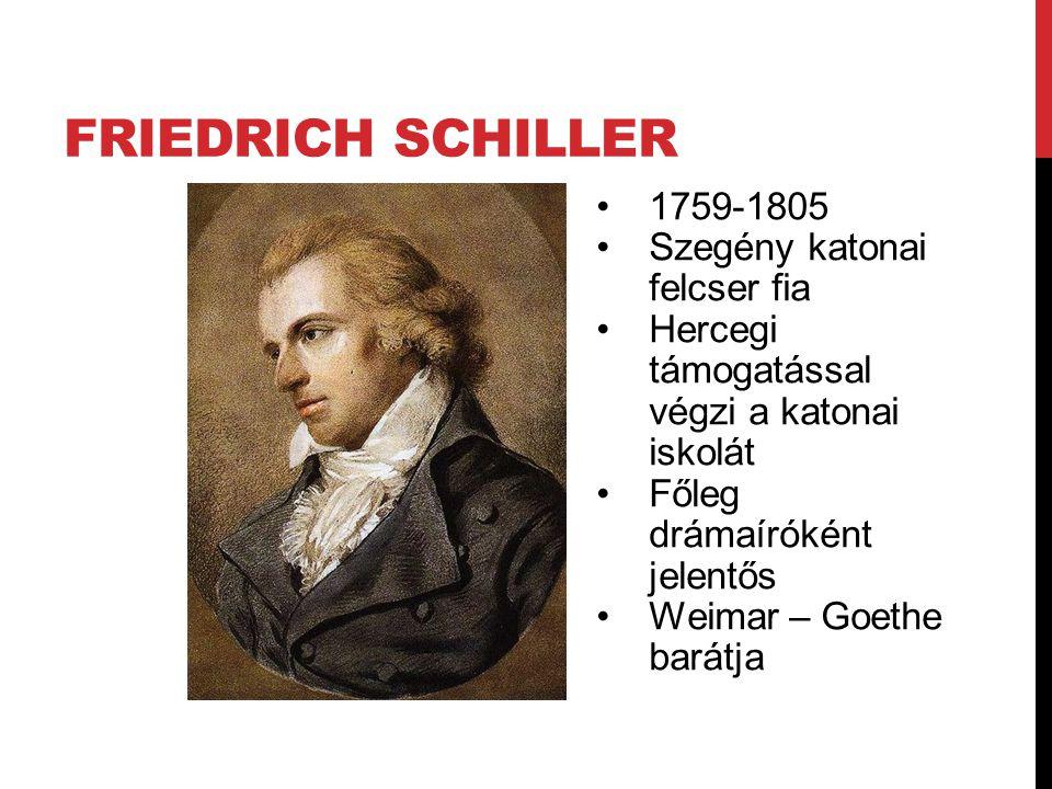 FRIEDRICH SCHILLER 1759-1805 Szegény katonai felcser fia Hercegi támogatással végzi a katonai iskolát Főleg drámaíróként jelentős Weimar – Goethe barátja