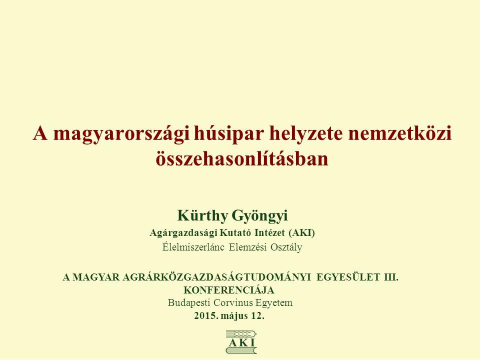 A magyarországi húsipar helyzete nemzetközi összehasonlításban Kürthy Gyöngyi Agárgazdasági Kutató Intézet (AKI) Élelmiszerlánc Elemzési Osztály A MAG