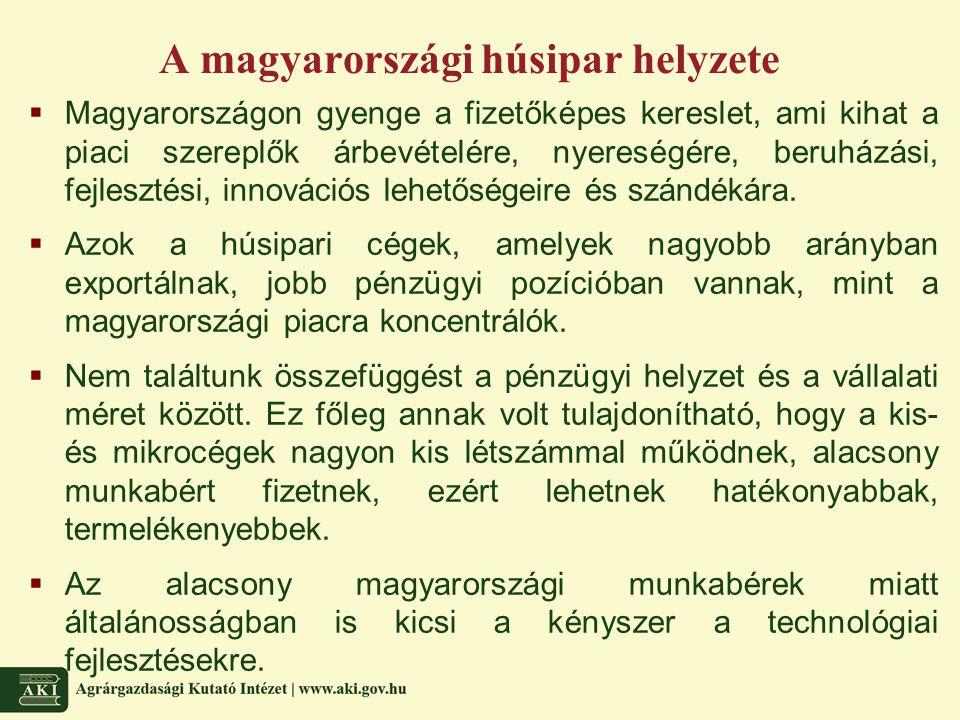 A magyarországi húsipar helyzete  Magyarországon gyenge a fizetőképes kereslet, ami kihat a piaci szereplők árbevételére, nyereségére, beruházási, fe
