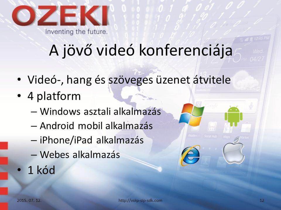 A jövő videó konferenciája Videó-, hang és szöveges üzenet átvitele 4 platform – Windows asztali alkalmazás – Android mobil alkalmazás – iPhone/iPad alkalmazás – Webes alkalmazás 1 kód 2015.