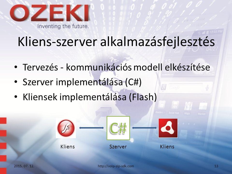 Kliens-szerver alkalmazásfejlesztés Tervezés - kommunikációs modell elkészítése Szerver implementálása (C#) Kliensek implementálása (Flash) 2015. 07.