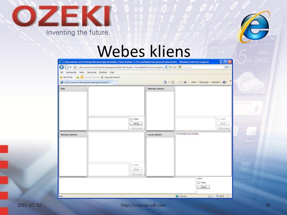 Webes kliens 2015. 07. 12.http://voip-sip-sdk.com18