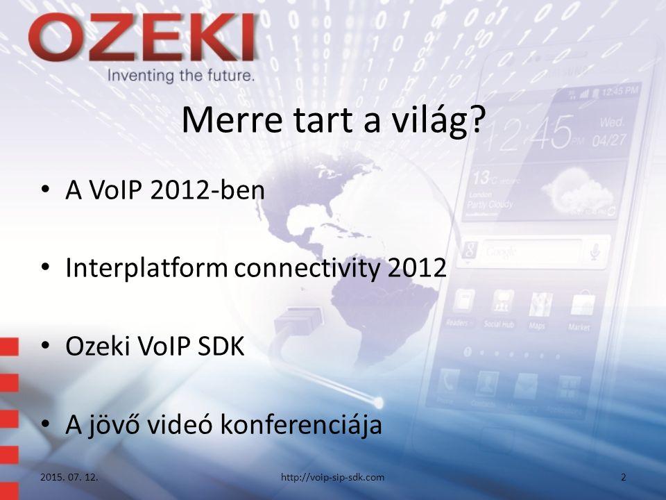 Merre tart a világ? A VoIP 2012-ben Interplatform connectivity 2012 Ozeki VoIP SDK A jövő videó konferenciája 2015. 07. 12.http://voip-sip-sdk.com2