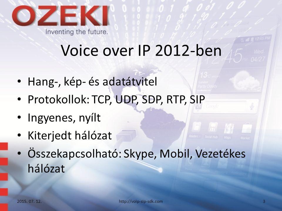 Voice over IP 2012-ben Hang-, kép- és adatátvitel Protokollok: TCP, UDP, SDP, RTP, SIP Ingyenes, nyílt Kiterjedt hálózat Összekapcsolható: Skype, Mobil, Vezetékes hálózat 2015.