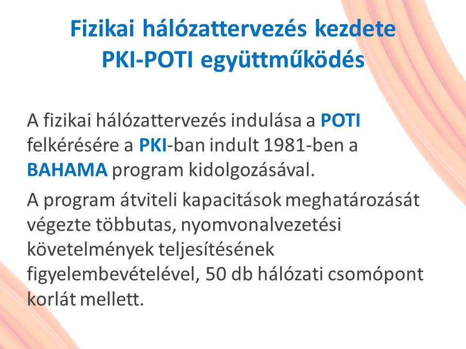 Fizikai hálózattervezés kezdete PKI-POTI együttműködés A fizikai hálózattervezés indulása a POTI felkérésére a PKI-ban indult 1981-ben a BAHAMA progra