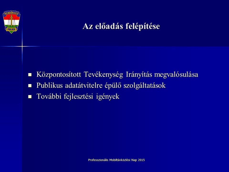 Professzionális Mobiltávközlési Nap 2015 Központosított Tevékenység Irányítás megvalósulása Központosított Tevékenység Irányítás megvalósulása Publiku