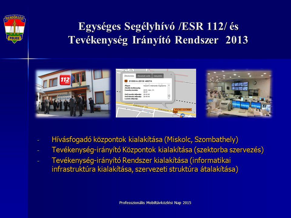Professzionális Mobiltávközlési Nap 2015 Egységes Segélyhívó /ESR 112/ és Tevékenység Irányító Rendszer 2013 - Hívásfogadó központok kialakítása (Miskolc, Szombathely) - Tevékenység-irányító Központok kialakítása (szektorba szervezés) - Tevékenység-irányító Rendszer kialakítása (informatikai infrastruktúra kialakítása, szervezeti struktúra átalakítása)
