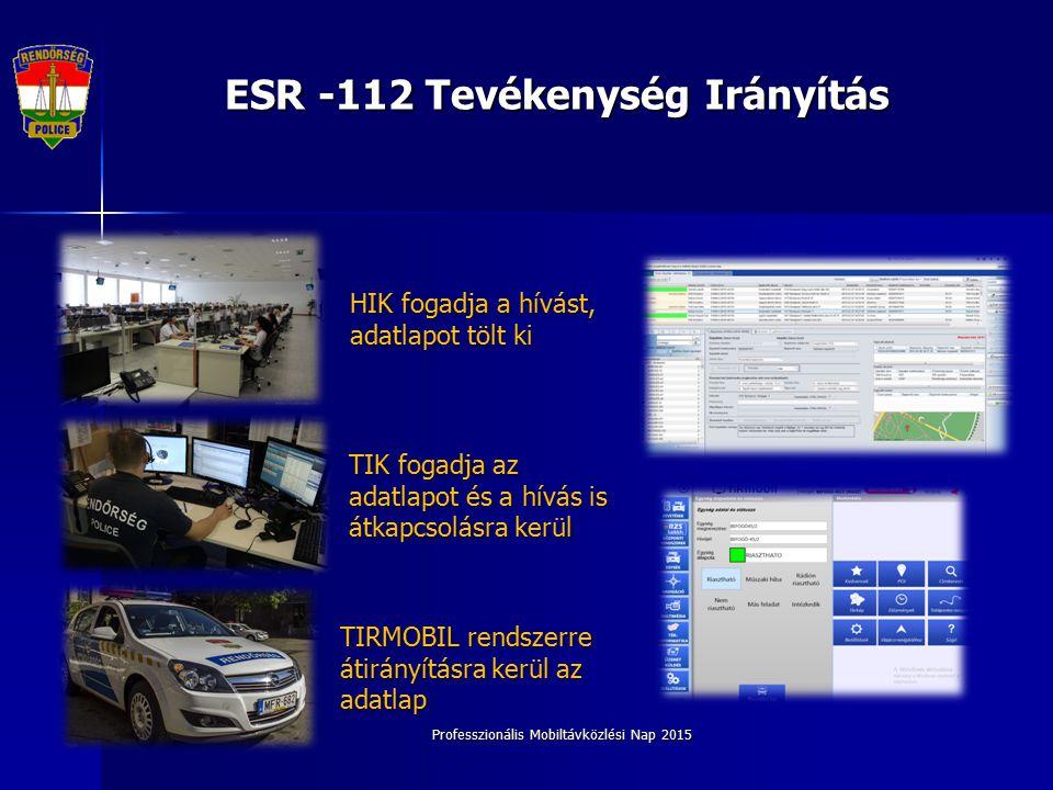 Professzionális Mobiltávközlési Nap 2015 ESR -112 Tevékenység Irányítás HIK fogadja a hívást, adatlapot tölt ki TIK fogadja az adatlapot és a hívás is átkapcsolásra kerül TIRMOBIL rendszerre átirányításra kerül az adatlap