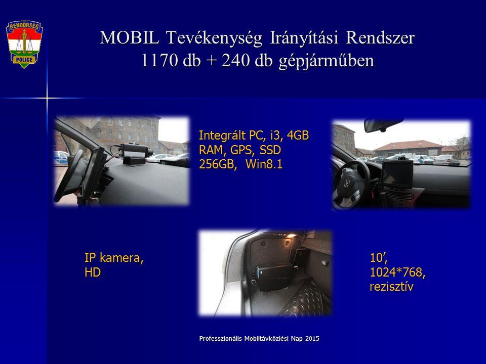 Professzionális Mobiltávközlési Nap 2015 MOBIL Tevékenység Irányítási Rendszer 1170 db + 240 db gépjárműben Integrált PC, i3, 4GB RAM, GPS, SSD 256GB, Win8.1 IP kamera, HD 10', 1024*768, rezisztív