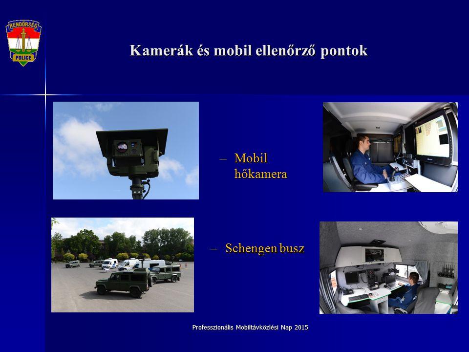 Professzionális Mobiltávközlési Nap 2015 Kamerák és mobil ellenőrző pontok –Schengen busz –Mobil hőkamera