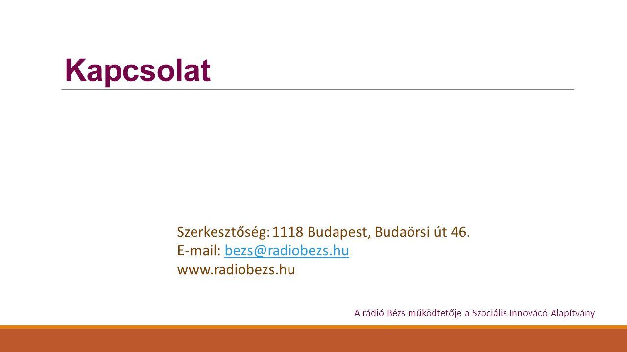 Kapcsolat Szerkesztőség: 1118 Budapest, Budaörsi út 46.