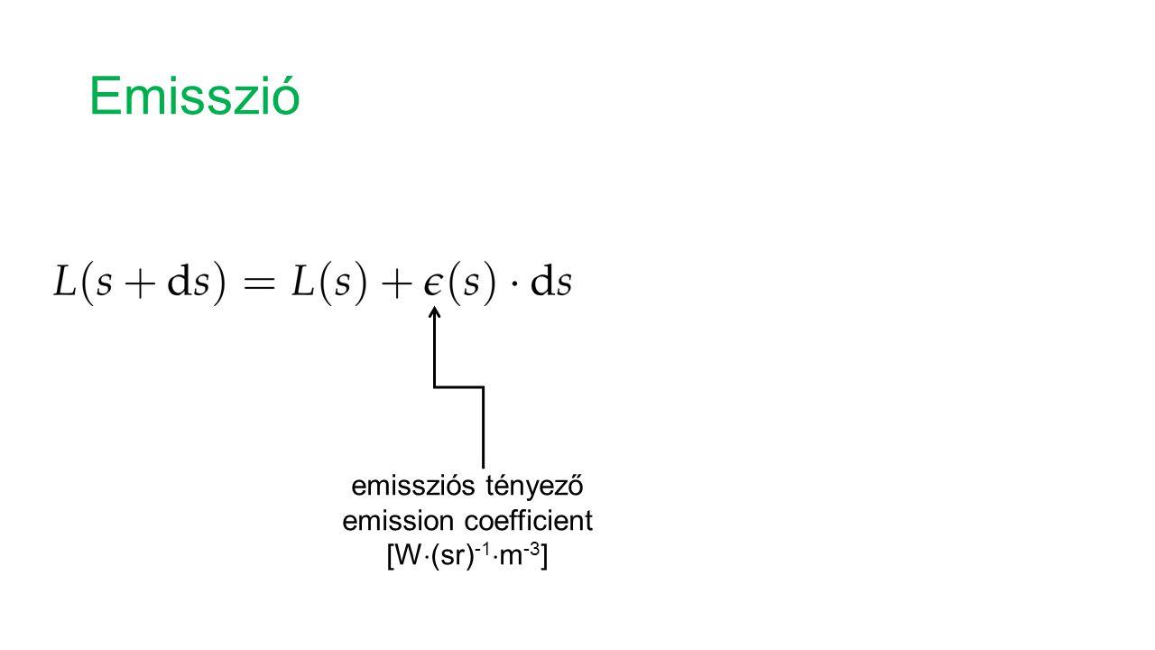 Emisszió emissziós tényező emission coefficient [W  (sr) -1  m -3 ]