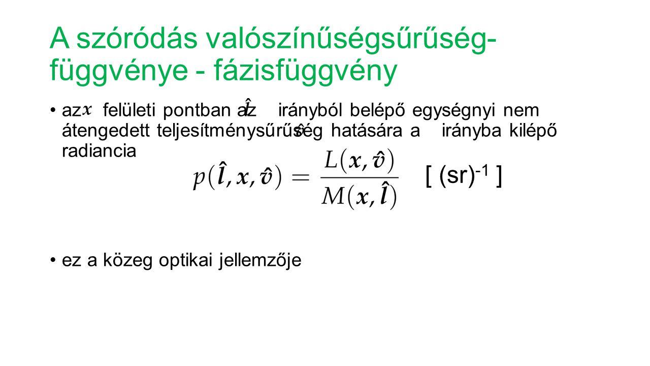 A szóródás valószínűségsűrűség- függvénye - fázisfüggvény az felületi pontban az irányból belépő egységnyi nem átengedett teljesítménysűrűség hatására a irányba kilépő radiancia ez a közeg optikai jellemzője [ (sr) -1 ]