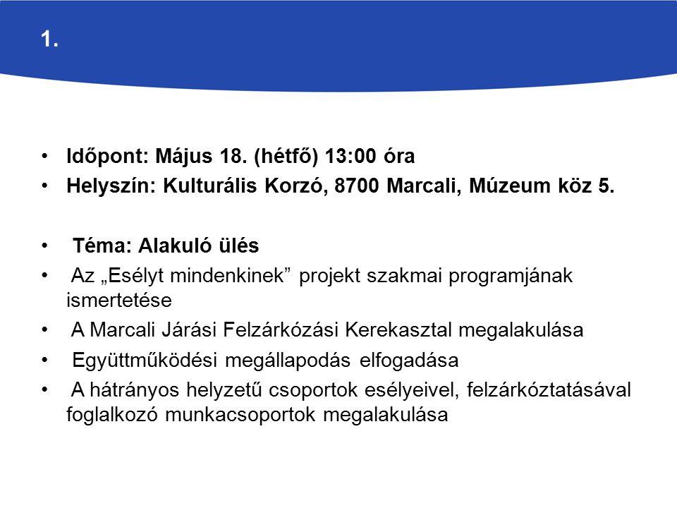 1. Időpont: Május 18. (hétfő) 13:00 óra Helyszín: Kulturális Korzó, 8700 Marcali, Múzeum köz 5.